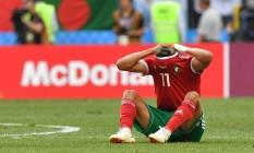 O meio campo Faycal Fajr, do Marrocos, chora após o jogo entre Portugal e Marrocos, no Estádio Luzhniki, em Moscou Foto: YURI CORTEZ / AFP
