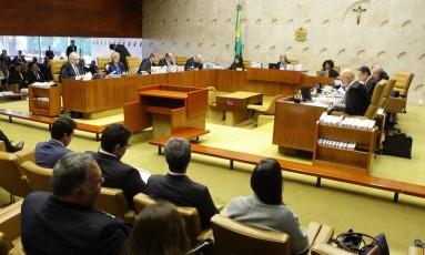 Plenário do STF, durante julgamento sobre possibilidade da Polícia Federal firmar delações Foto: Jorge William / Agência O Globo