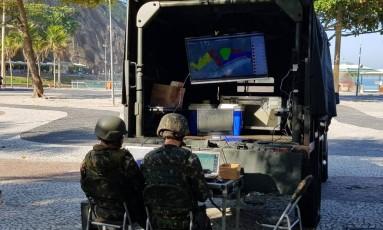 Militares utilizam equipamento de monitoração em operação no Leme Foto: Caio Barreto Briso / Agência O Globo