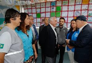 O presidente Michel Temer visita abrigo para imigrantes venezuelanos, em Roraima Foto: Alan Santos/Presidência