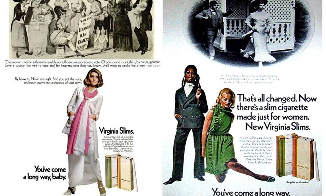 Propaganda da marca Virginia Slims em 1969: cigarro feito para mulheres Foto: Divulgação