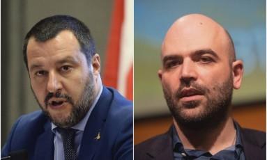 Salvini e Saviano: desafetos Foto: Montagem / Reprodução