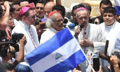 Bispos fazem homilia após visitar Masaya, palco de fortes confrontos Foto: MARVIN RECINOS / AFP