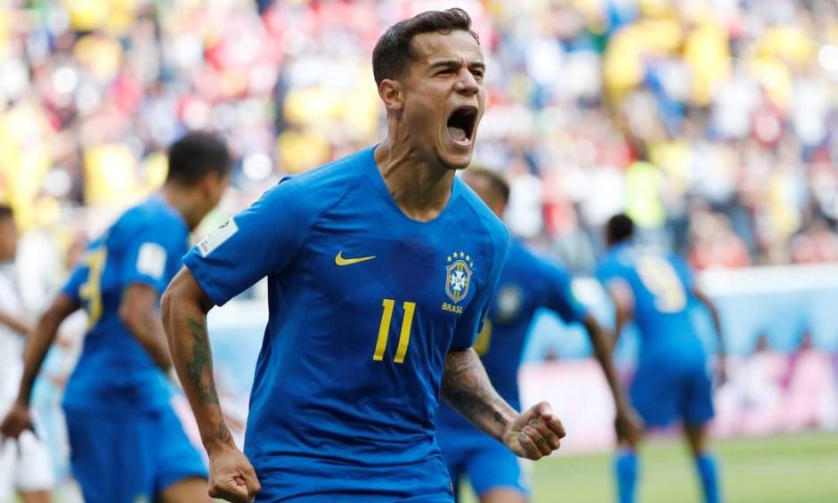 Copa da Rússia: Brasil X Costa Rica. Phillipe Coutinho marca o primeiro gol do Brasil Foto: MAX ROSSI / REUTERS
