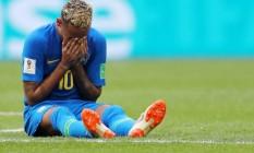 Neymar chora após o fim da partida com a Costa Rica Foto: Heuler Andrey/DiaEsportivo / Agência O Globo