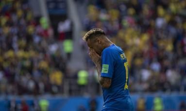 Neymar chora após o final do jogo contra a Costa Rica Foto: Alexandre Cassiano - 22/06/2018 / Agência O Globo