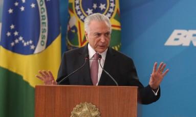 O presidente Michel Temer participa de cerimônia no Palácio do Planalto Foto: Ailton de Freitas/Agência O Globo/16-06-2018
