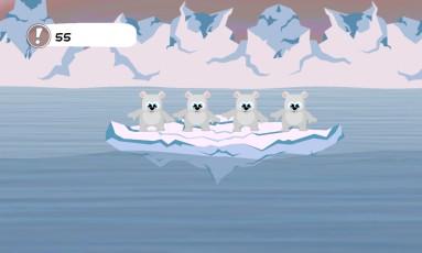 Interface do jogo 'Save Polar', que mostra o impacto do derretimento de geleiras na vida na Terra Foto: Divulgação