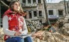 """Myriam Rawick, co-autora de """"O Diário de Myriam"""", em foto na Síria Foto: F. Thomas / Divulgação"""