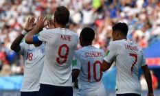 Harry Kane: atacante do Tottenham vibra com os companheiros: é o novo artilheiro do Mundial Foto: DIMITAR DILKOFF / AFP