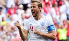 Harry Kane comemora um de seus três gols na vitória da Inglaterra sobre o Panamá Foto: MARTIN BERNETTI / MARTIN BERNETTI/AFP
