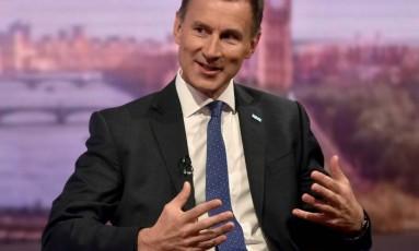 O ministro britânico Jeremy Hunt durante entrevista à rede de televisão BBC Foto: Reuters/Reprodução