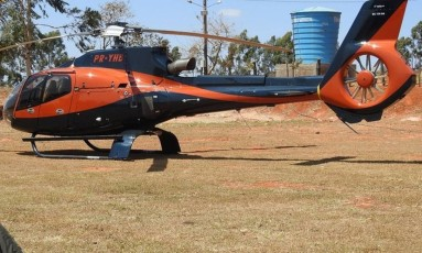 Helicóptero que, segundo a PF, teria sido usado pelos criminosos em MS Foto: PF / Divulgação