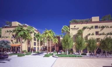 Desenho mostra como será o CR7 Pestana de Marrakech, no Marrocos Foto: Hotéis Pestana / Divulgação