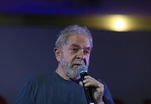 O ex-presidente participa de comemoração do aniversário do PT Foto: Edilson Dantas/Agência O Globo/22-02-2018
