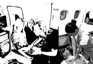 Ilustração representando o atendimento médico dentro de um avião Foto: Divulgação