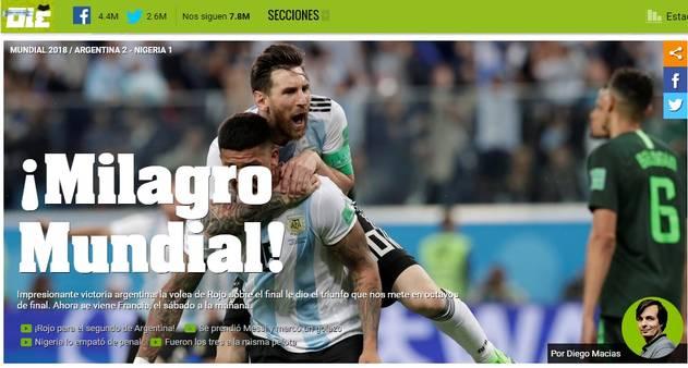 c232530f48  Milagre mundial   imprensa argentina comemora classificação - Jornal O  Globo