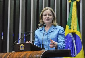 A senadora Gleisi Hoffmann discursa na tribuna do Senado Foto: Moreira Mariz/Agência Senado