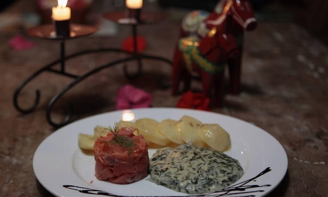 Sequência de pratos escandinavos no Hotel Pequena Suécia, em Penedo Foto: Luiz Ackermann / Agência O Globo