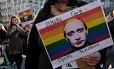 Placa anti-Putin em protesto na Bélgica: manifestações são proibidas na Rússia Foto: Alexandros Michailidis/20-3-2017 / Shutterstock