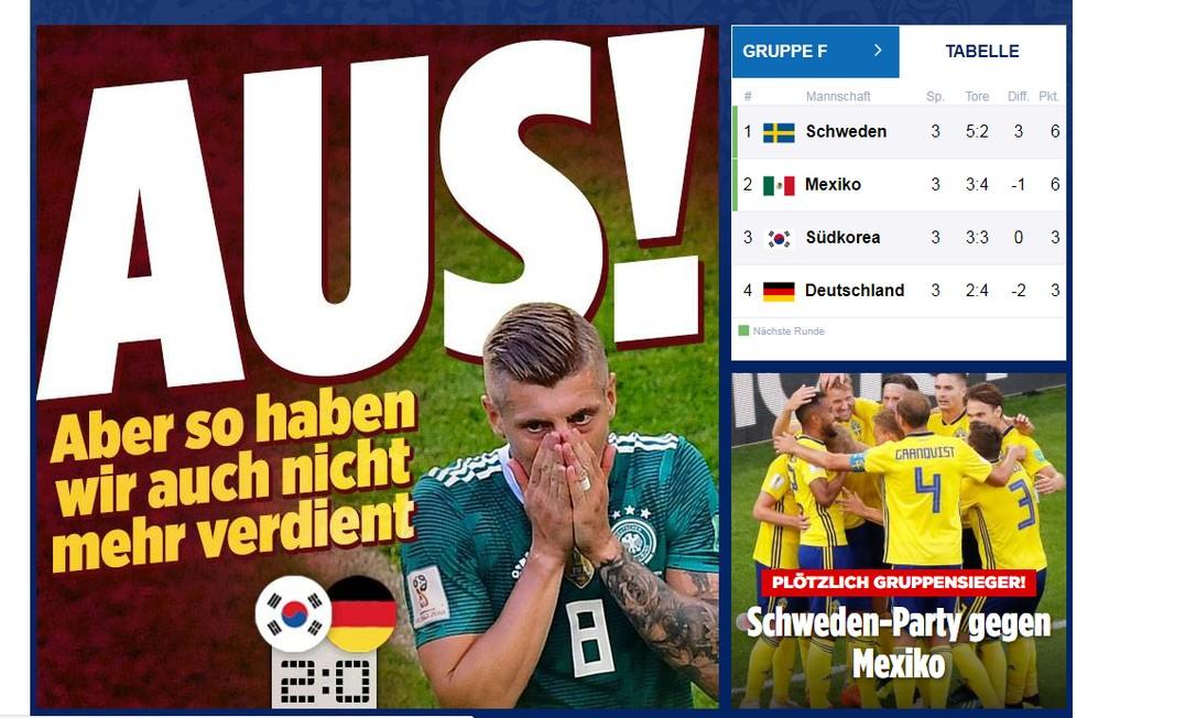 Histórico   eliminação da Alemanha repercute nos jornais alemães - Jornal  O Globo 3e564af74f318