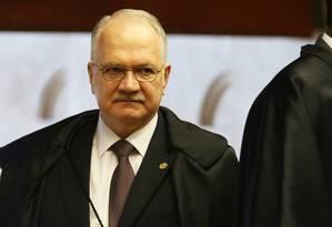 O ministro Edson Fachin, durante sessão do Supremo Tribunal Federal Foto: Givaldo Barbosa / Agência O Globo