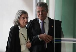 A presidente do STF, ministra Cármen Lúcia, e o ministro Marco Aurélio Mello Foto: Ailton de Freitas/Agência O Globo/06-06-2018