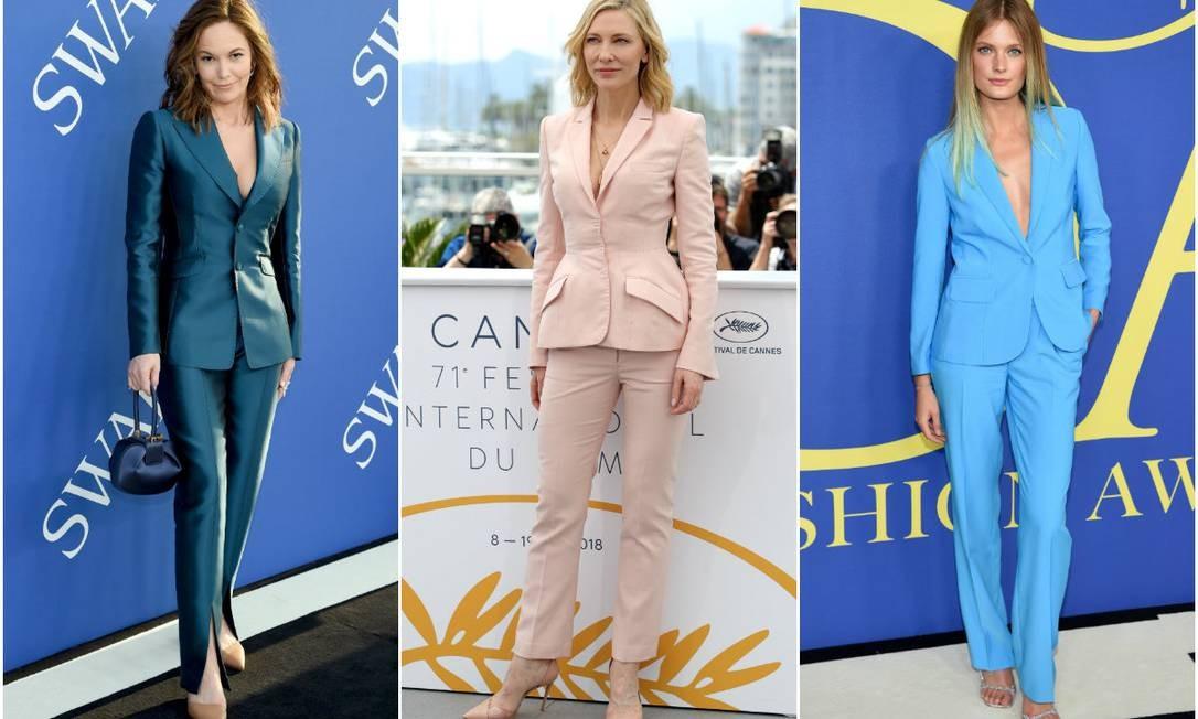 Da esquerda para a direita: Diane Lane, Cate Blanchett e Constance Jablonski Foto: Montagem com fotos Getty Images e AFP