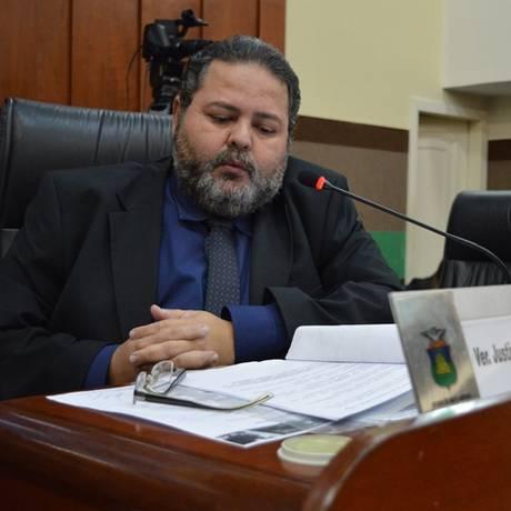 Presidente da Câmara Municipal de Cuiabá, vereador Justino Malheiros (PV), durante sessão, Foto: Divulgação/Câmara de Cuiabá