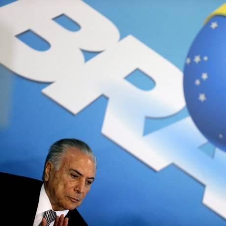 O presidente Michel Temer, durante cerimônia no Palácio do Planalto Foto: Jorge William / Agência O Globo