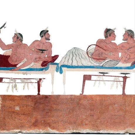 Afresco romano usado na capa do livro