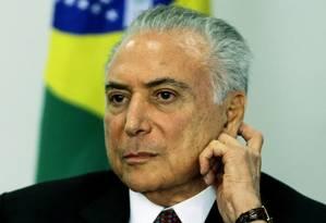 O presidente Michel Temer participa de cerimônia no Palácio do Planalto Foto: Jorge William/Agência O Globo/26-06-2018