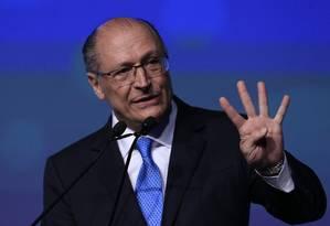Geraldo Alckmin participa de evento com presidenciáveis em São Paulo Foto: Edilson Dantas/Agência O Globo/18-06-2018
