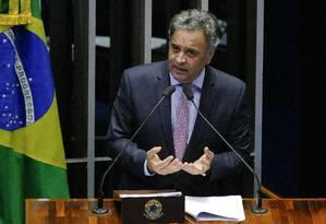 O senador Aécio Neves discursa na tribuna do Senado Foto: Roque de Sá/Agência Senado/16-05-2018
