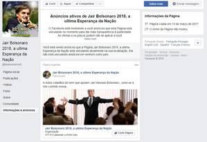 Página Jair Bolsonaro 2018, a última esperança da nação Foto: Reprodução / Agência O Globo