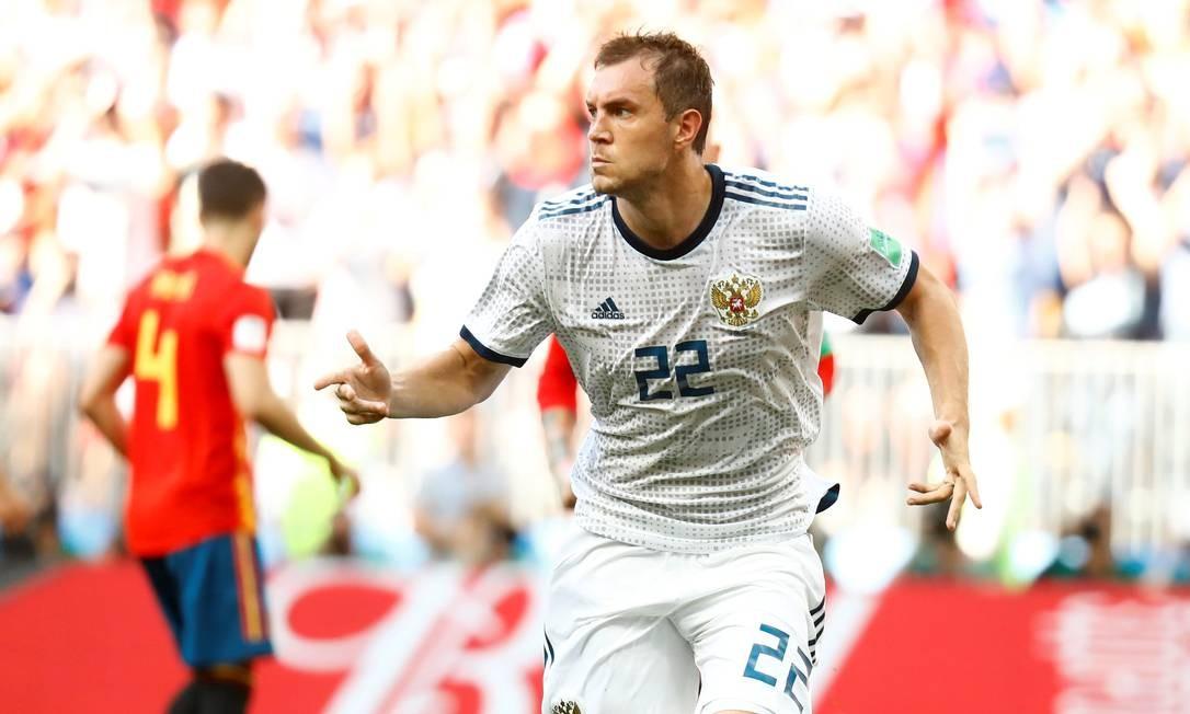 Dzyuba comemora o empate da Rússia Foto: KAI PFAFFENBACH / REUTERS
