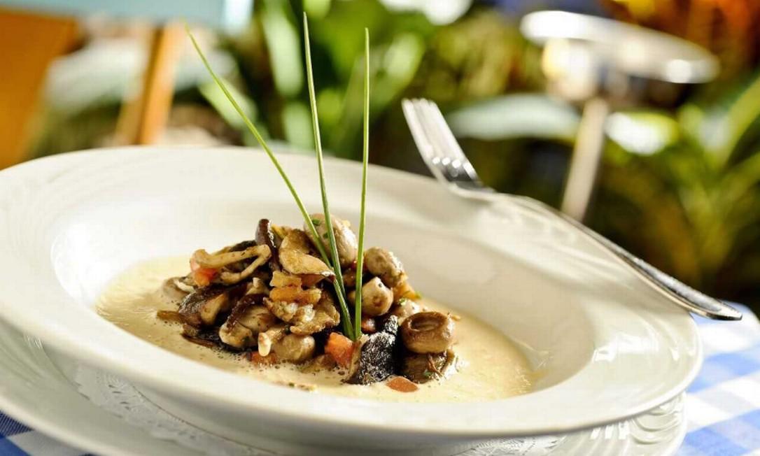 Le Vin. O prato é um fricassée de champignons com creme de foie gras (R$54). BarraShopping. Av. das Américas 4666, Espaço Gourmet (2431-8898) Divulgação