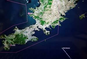 Imagem mostra a trajetória do Peak Pegasus na chegada ao porto de Dalian, na província de Liaoning, na China. Foto: Florence Lo/Reuters