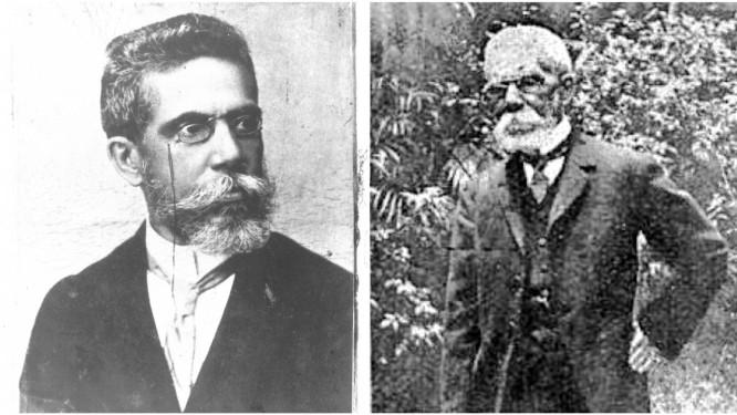 Machado em dois momentos: em foto de 1893 atribuída a Juan Gutierrez (esquerda) e em foto encontrada em uma edição da revista argentina