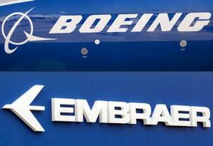Logomarcas da Boeing e da Embraer Foto: Eric Piermont/AFP