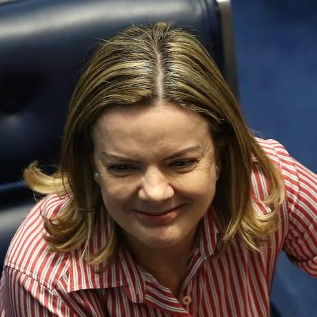 Presidente Nacional do PT, Gleisi Hoffmann comemora decisão do TRF-4 Foto: Ailton de Freitas / Agência O Globo