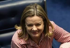 A senadora Gleisi Hoffmann, presidente nacional do PT, em sessão do dia 19/06/2018 Foto: Ailton de Freitas / Agência O Globo