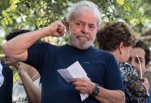 O ex-presidente Lula em São Bernardo do Campo, abril de 2018 Foto: Nelson Almeida / AFP