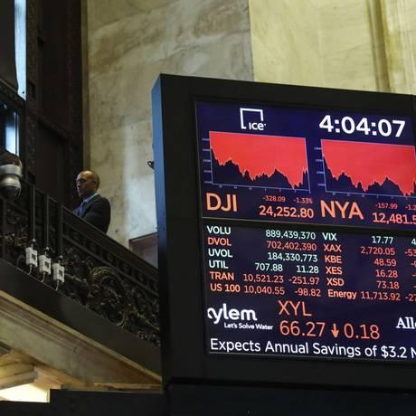 Painel na Bolsa de Nova York. Foto: Drew Angerer/Getty Images/AFP