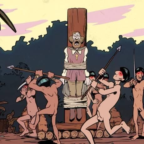 Cena do filme 'Cidade dos piratas', animação de Otto Guerra inspirada em tiras da cartunista Laerte Foto: Divulgação