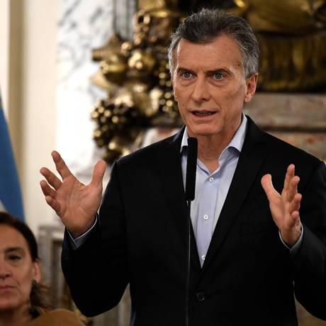 O presidente da Argentina, Mauricio Macri Foto: EITAN ABRAMOVICH / AFP/21-6-2018