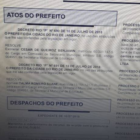 Exoneração saiu no Diário Oficial desta quarta-feira Foto: Reprodução/ Internet