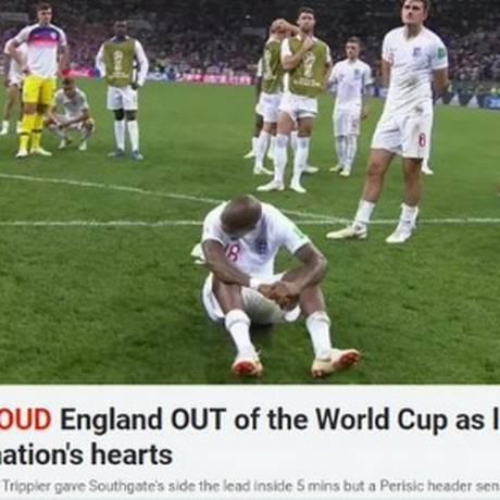'The Sun' lamenta derrota para a Croácia Foto: Reprodução