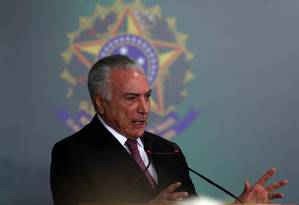 O presidente Michel Temer, durante cerimônia no Palácio do Planalto Foto: Givaldo Barbosa/Agência O Globo/10-07-2018