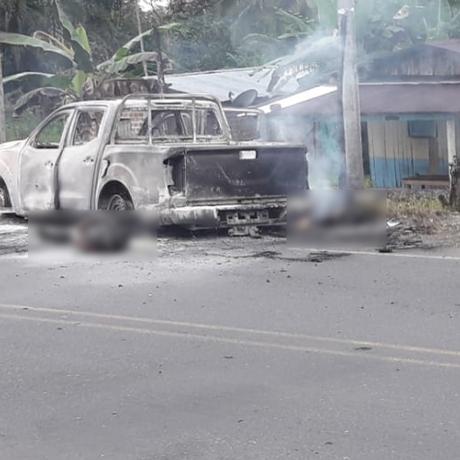 Agnetes do Corpo Técnico de Investigação da Colômbia foram mortos e carro, incenerado Foto: Procuradoria colombiana/El Tiempo/GDA